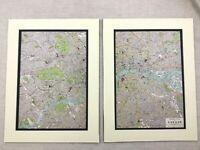 1920 Antik Aufdrücke Karte von Central London City Street Plan Routes Thames