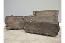 2 X Rustic Wooden Storage Trunks Old Fashioned Treasure Boxes Chests Home