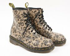 DOC DR MARTENS 1460 Black Tan Leather Floral Rose Leather Boots Women UK 4 US 6