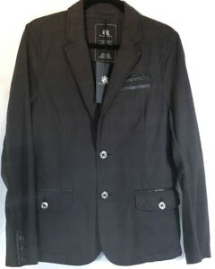 Men's 37R Small ROCK REPUBLIC Jacket  Blazer GRAY RED Black Leather Unstructured