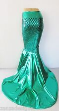 S Ariel  Mermaid scale Metallic Mermaid Skirt Fish tail Costume skirt w/train