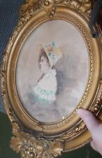 1900 dated Paris art French lady watercolor painting gold original frame antique