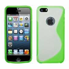 iPhone 5 5S SE TPU Gummy S-Line Flexi Skin Case Phone Cover Green Clear S-Shape