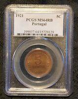 PCGS MS64RB 1921 Portugal 5 Centavos