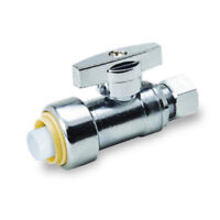 "1/2"" x 3/8"" SHARKBITE STYLE PUSH COMP STRAIGHT STOP VALVE , 1/4 TURN - UPSSC1238"