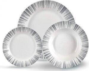 18 Piece Porcelain Dinner Set White & Brush Stroke Grey & Black