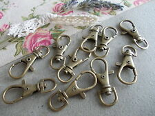 10 X ANTIQUE BRONZE COLOUR SWIVEL KEY RING CLASPS ,KEYRING/BAG CHARM CLIPS