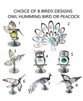 Crystocraft Crystal Ornament Bird Owl Peacock With Swarovski Elements Gift Box