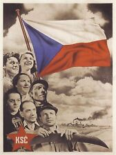 PROPAGANDA POLITICAL COMMUNISM CONGRESS FLAG CZECH RED STAR POSTER PRINT BB2532A