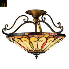 "16"" Tiffany Felice Style 2-light Imperial Bronze Semi-Flush Mount Ceiling Light"