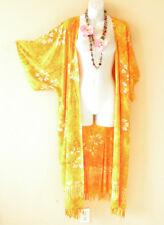 Mustard Hibiscus Cardigan Duster Batik Kimono Maxi Cover wrap - 2X, 3X, 4X & 5X