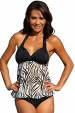 b0c5a4bcb5c66 UjENA - Sheer Zebra Open-Back Tankini Swim Dress. Top Only: Large.