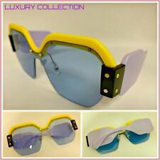 d9e4e47303 OVERSIZE Funky Exotic LUXURY Retro Style SUNGLASSES Thick Frame Blue Square  Lens