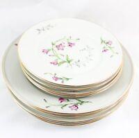 SET 8 SIDE PLATES HAVILAND BAVARIA CHINA VESPER BELLS PINK FLOWERS CREAM GOLD