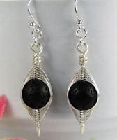 925 STERLING SILVER Artisan Wire Wrapped Black LAVA STONE Earrings USA HANDMADE