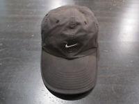 Nike Strap Back Hat Cap Black White Swoosh Lightweight Running Runner 90s *