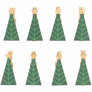 Mini Christmas Tree Wooden Clips x 8