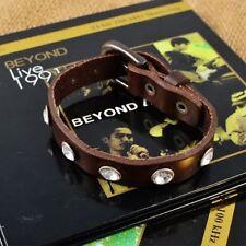 New!! Men's Adjustable BUCKLE PUNK style Rhinstone Leather Wristband