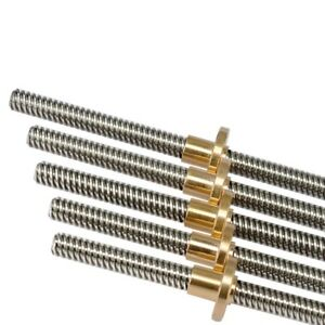 T8 Pitch 2mm Lead 4mm Trapezoidal Rod Stainless Lead Screw + Brass Nut
