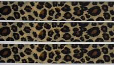 "BB Ribbon LEOPARD ANIMAL PRINT BROWN 2m doublesided grosgrain 7/8"" 22mm"