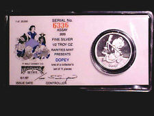 Disney DOPEY 1/2 Oz .999 Fine Silver Rounds w/ COA ~ SHIPPING IS FREE!