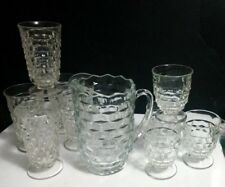 10 Pc Set Indiana Colony Whitehall Clear ~ Pitcher, 5 Iced Tea, 4- 9 Oz Tumblers