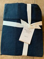 POTTERY BARN Belgian Flax Linen QUEEN Sheets 4 pc Set NEW - MIDNIGHT/Navy Blue