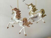 Gisela Graham Cream/Gold/Copper Resin Prancing Unicorn Christmas Dec 10.5cm