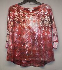 Style & Co Womens Maroon Multi Color Sequence 3/4 Sleeve Top Size Extra Small