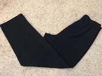 Black Pleated Elastic Waist Zippered Women's Dress Pants Size 14 Inseam 29.5
