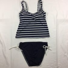 Navy Blue & White Tankini Size Small 2 Piece Isaac Mizrahi Swim Suit