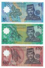 Banknote - Set of 3 pcs. Brunei 1996 Sultan Polymer $1 $5 $10 banknotes (#114)