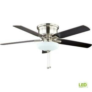 """Holly Springs Low Profile 52"""" LED Indoor Brushed Nickel Ceiling Fan w/LIGHT KIT"""