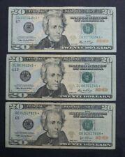 $20 TWENTY DOLLAR STAR BILL 2004A AND 2006 FANCY SERIAL # FRN - LOT OF 3 - WOW!