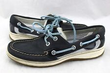 SPERRY Top Sider Angelfish Navy Blue Leather Mesh Flats Loafers Boat Shoes 6.5