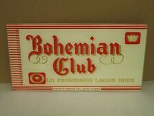 "Vintage Bohemian Club Lager Beer Glass Sign 10"" X 5""  Beeco Manufactured"