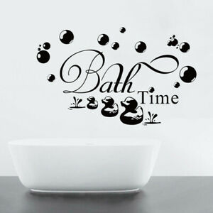 DIY Bathroom Sticker Bath Time Ducks Soak Relax Quote Wall Decal Art Removable