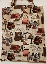 Einkaufsbeutel Gobelin Mode Tasche Hut Schuhe Einkaufstasche Shopper Tapestry