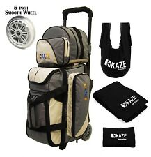 KAZE 2/3 Ball Bowling Roller Bag Smooth PU Wheel Add-On Spare Tote Seesaw Towel