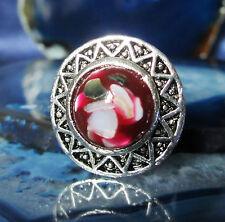 Anillo vintage estilo tíbet plata sonnenrad rojo moluscos bivalvos madreperla en resin resina