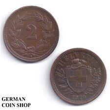 Schweiz 2 Rappen Kupfer 1850 1866 1879 1899 Switzerland copper