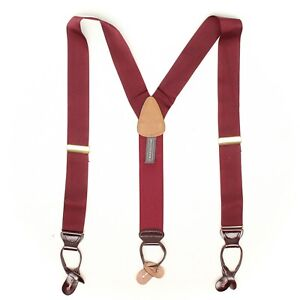 Trafalgar Mens Braces Suspenders Solid Burgundy Woven Nylon Leather Button Tabs