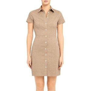 Theory Good Linen Short Sleeve Button-Up Shirt Dress Size 00 Brown Women's New