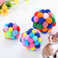 Pet Cat Toy Colorful Soft Bells Bouncy Ball Built-In Catnip Interactive Toy Fun