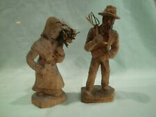 Vintage Hand Carved Wood farm workers Figurines Unpainted Folk Art