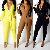 Women Solid Sexy Jumpsuit Casual Cargo Pants Belt Sports Romper Overall Playsuit