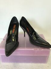 MIU MIU BLACK LEATHER POINTED TOE HEELS SIZE 6.5 /39.5