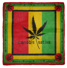 "22""x22"" Canabis Sativa Red/Yellow/Green 100% Cotton Bandana"