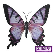 Primus Hand Finished Large Pink & Black Metal Butterfly Garden Wall Art Ornament