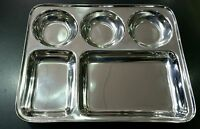5 COMPARTMENT STAINLESS STEEL INDIAN THALI DISH FOOD TRAY DINNER PLATE
